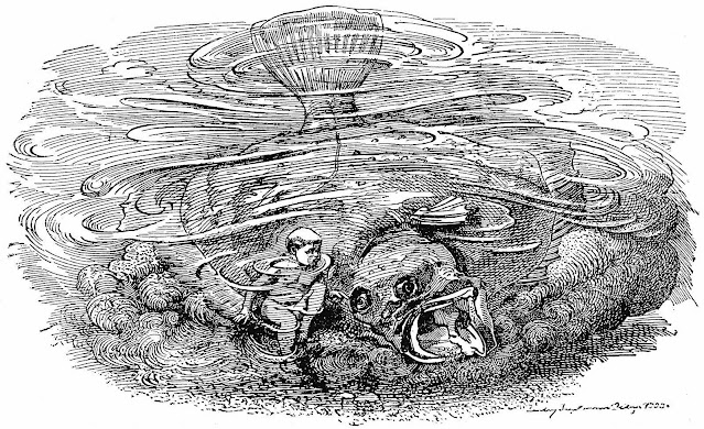 a Linley Sambourne illustration of a water baby with a giant flounder fish