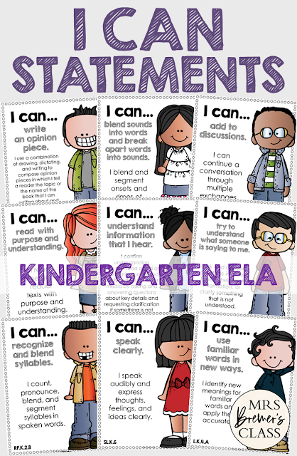 I Can Statements Common Core Posters for Kindergarten ELA, featuring Melonheadz Kidlettes. Display in the classroom on a focus board or objective board for student reference and learning. An educational display for use in Kindergarten. Hang as you teach a new learning standard. No prep- just print and go!