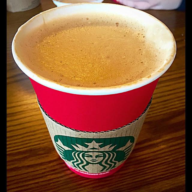 Starbucks caramel latte in red Christmas cup, home sense notebook haul