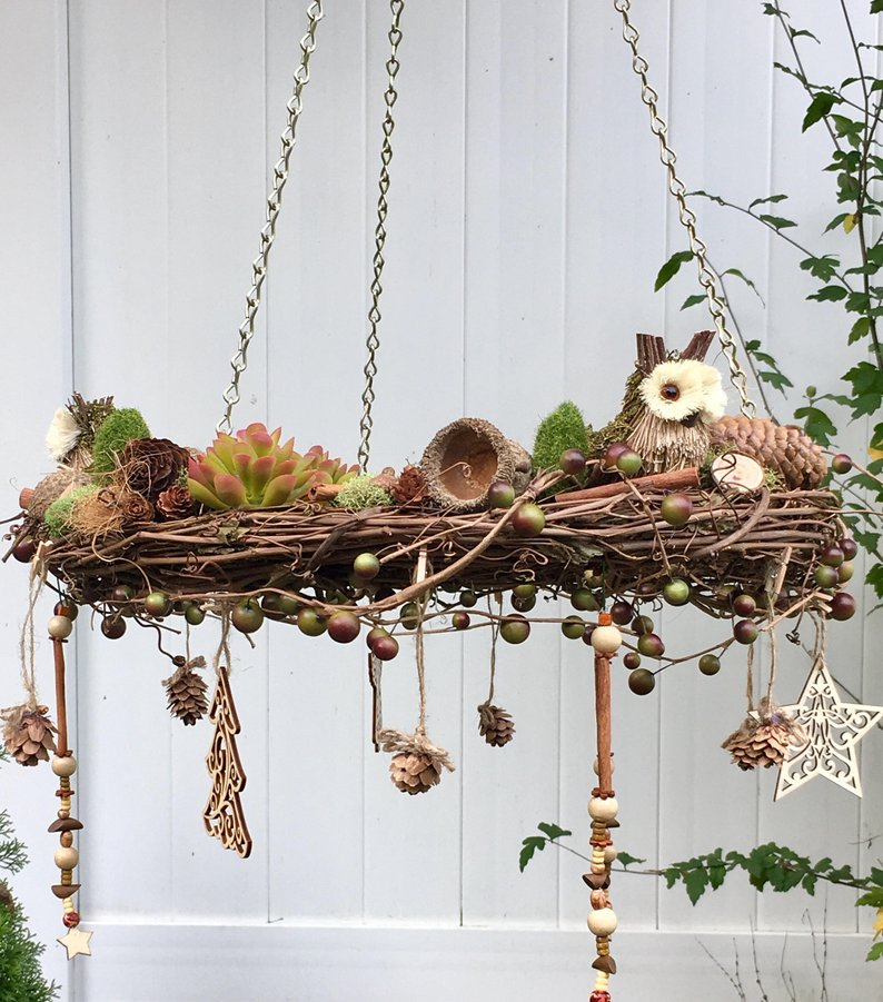 Bs Cozy Cottage Crafts Rustic Woodland Decor Wreathe Chandelier