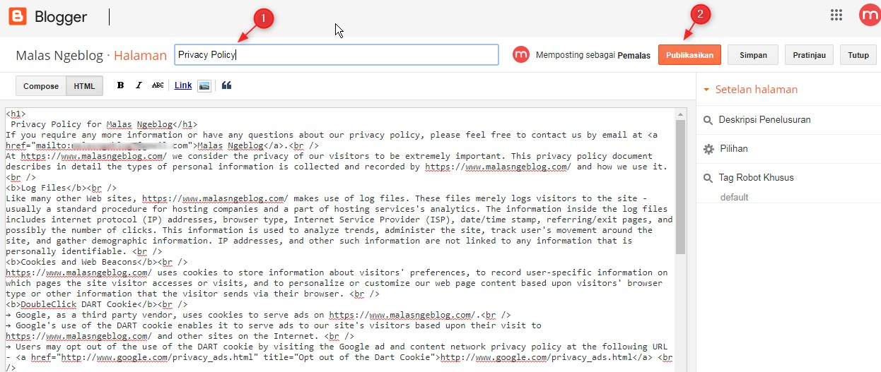 Cara Pasang Privacy Policy di Blog