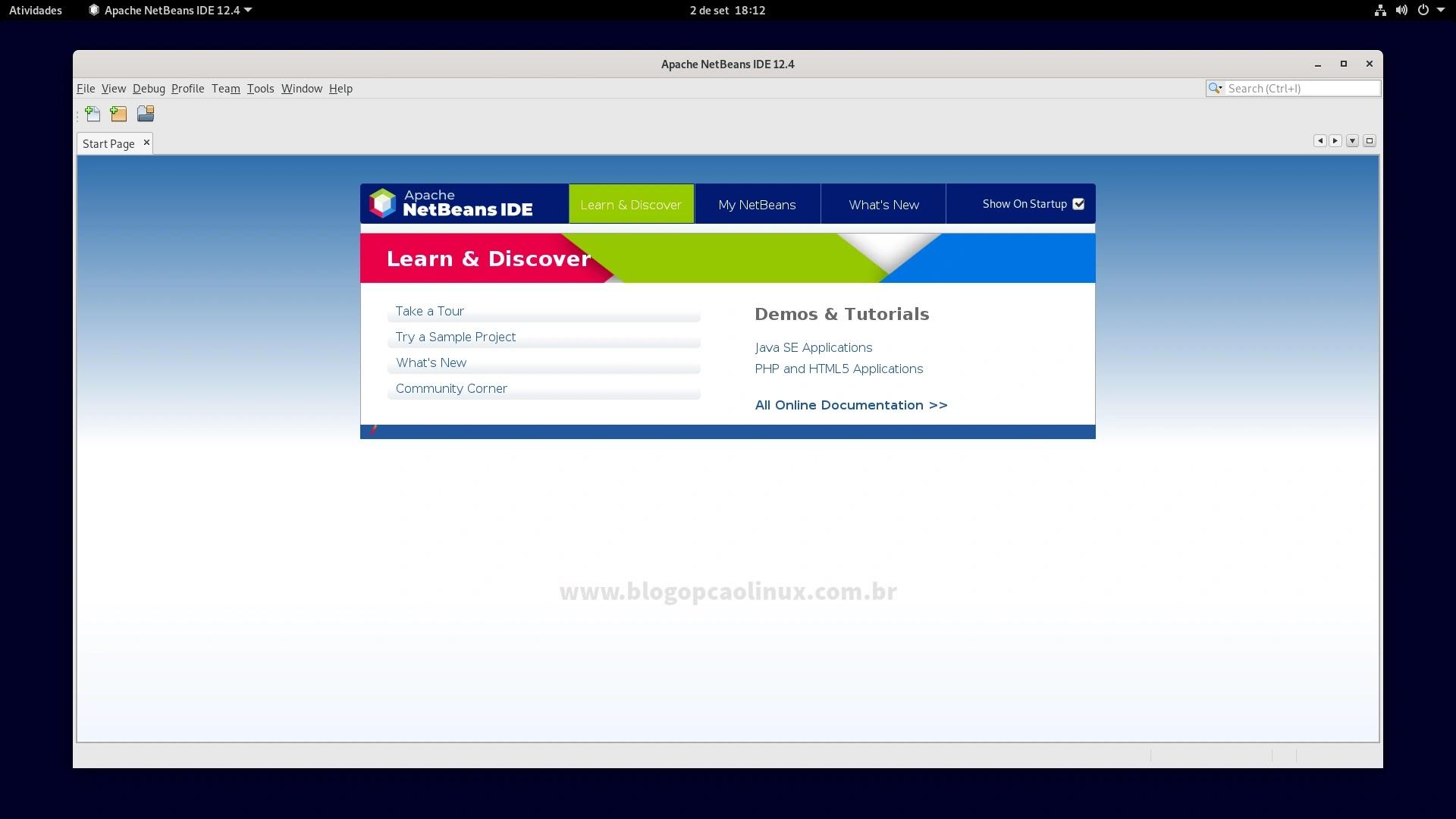 Apache NetBeans IDE 12.4 executando no Debian 11 Bullseye com desktop GNOME Shell