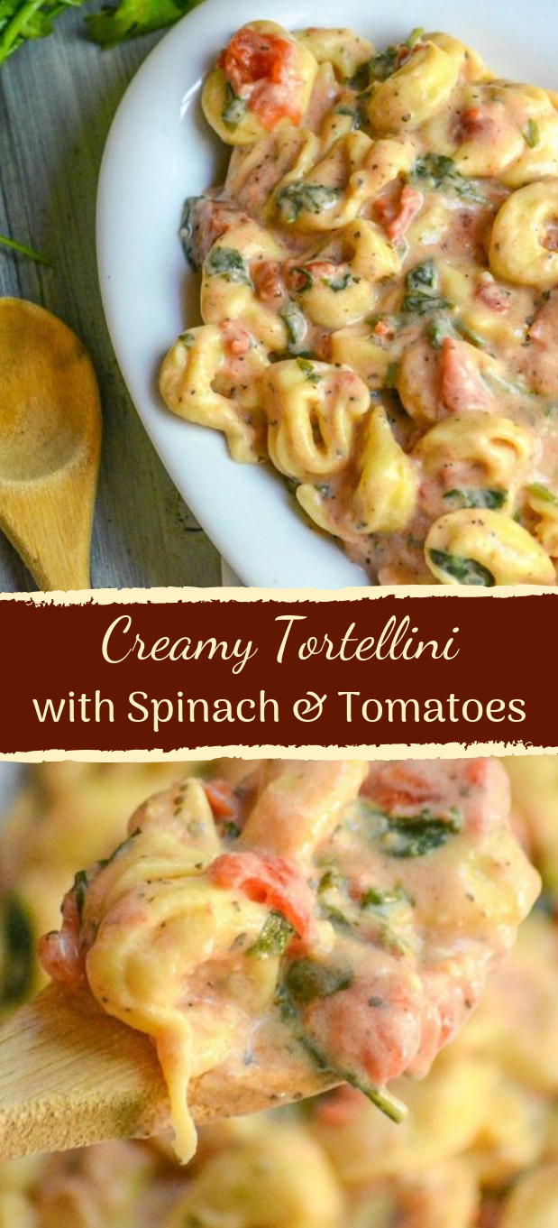 Creamy Tortellini with Spinach & Tomatoes #dinner #pasta