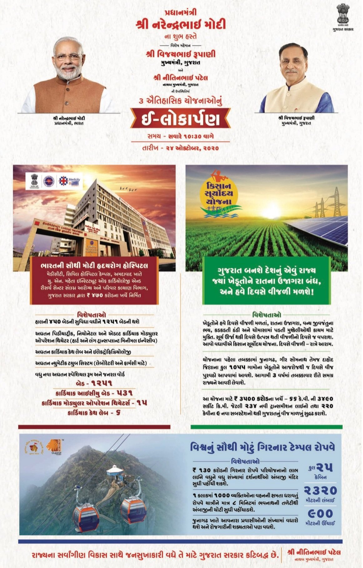 PM Modi Launches Three Mega Projects in Gujarat Including Kisan Suryodaya Yojana for Farmers