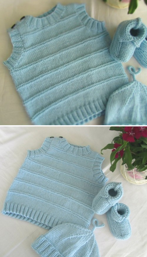 Viggo (Knitted vest with stripes)  - Free Pattern