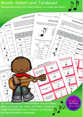 9 Arbeitsblätter zwei Memo Spiele und ein Frage und Antwortspiel zur Musik: Noten und Pausen und ihre Dauer