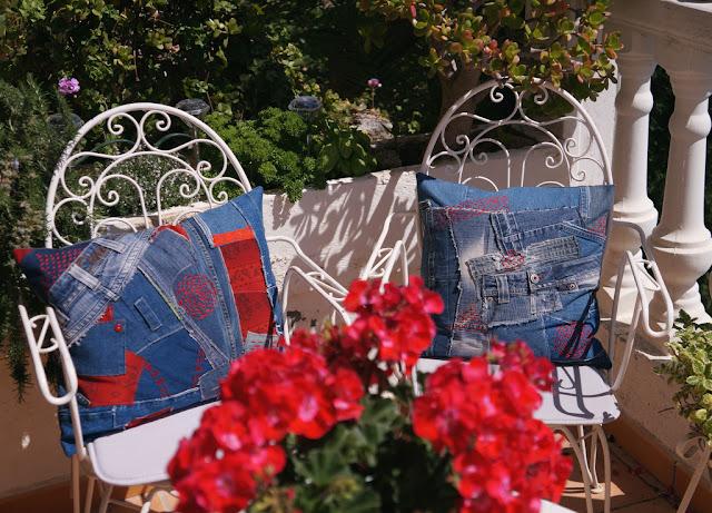 DIY idea, fundas de cojines de vaqueros reciclados