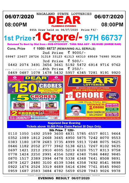 Nagaland State Lottery Sambad 06-07-2020 Today Result 8 PM