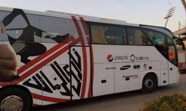 """حافلة الزمالك تصل """"برج العرب"""""""