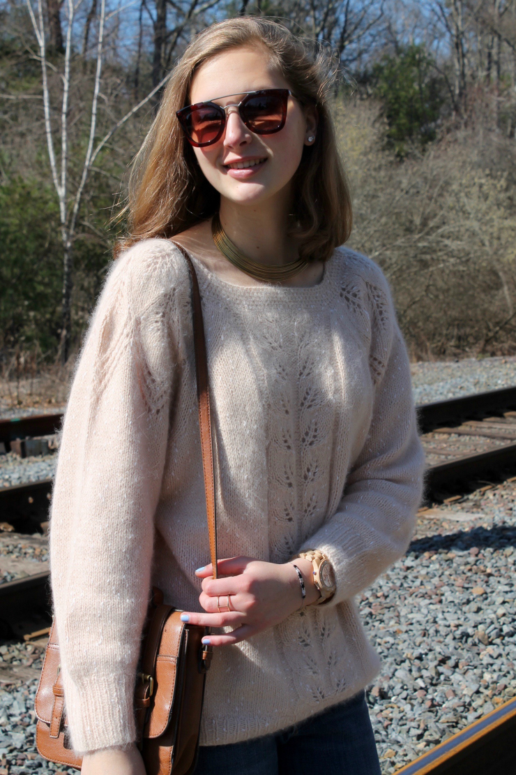 Gold jewelry, Firmoo brown sunglasses, creme colored cashmere sweater and jeans