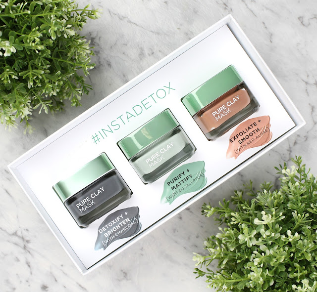 L'Oreal Pure Clay Mask Masks InstaDetox Charcoal Eucalyptus Red Algae Normal Oily Congested Skin