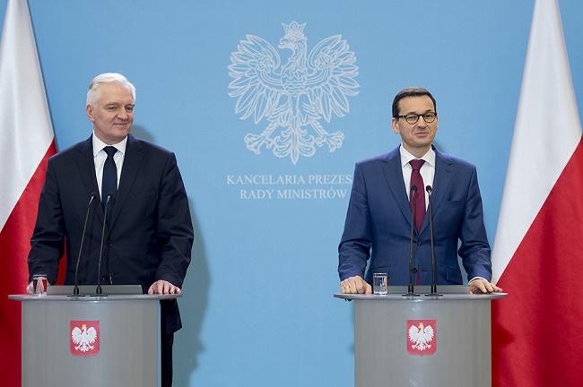Minister Nauki i Szkolnictwa Wyższego Jarosław Gowin i premier Mateusz Morawiecki - fot. P. Tracz Public domain
