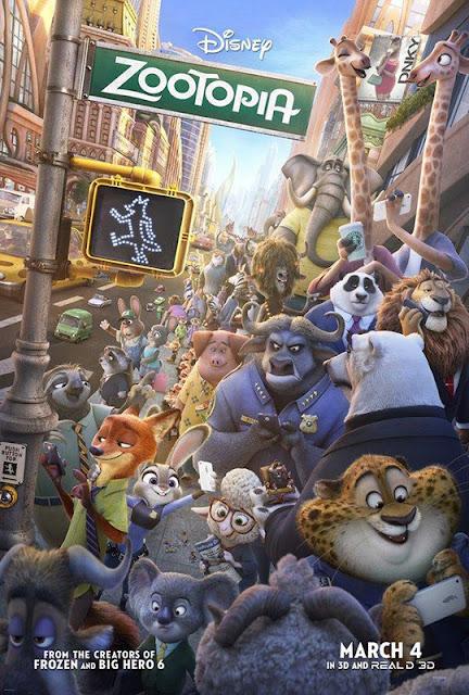 Cartel de la película de Disney Zootrópolis Zootopia en inglés
