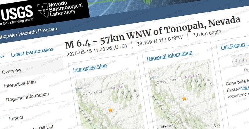 TERREMOTO EN ESTADOS UNIDOS: Sismo de Magnitud 6.4 (Hoy Viernes 15 Mayo 2020) Temblor - Epicentro - Tonopah - Nevada - EEUU - USGS