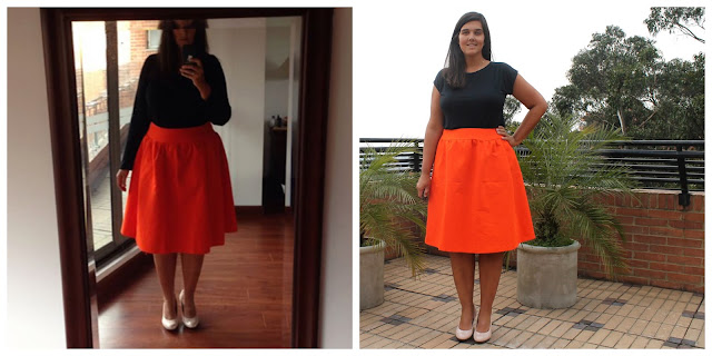 Before- and after-alteration photos of an orange faille skirt sewn from the Simplicity 1369 sewing pattern.