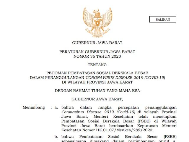 Ini Aturan dalam Pergub Nomor 36 Tahun 2020 Tentang Pedoman PSBB Jawa Barat