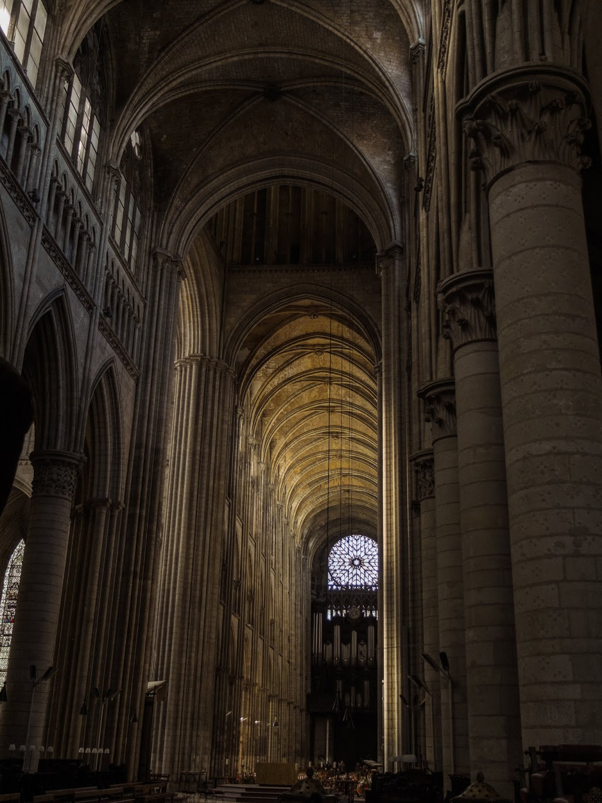 On the inside of the Cathedral of Rouen, Northern France.