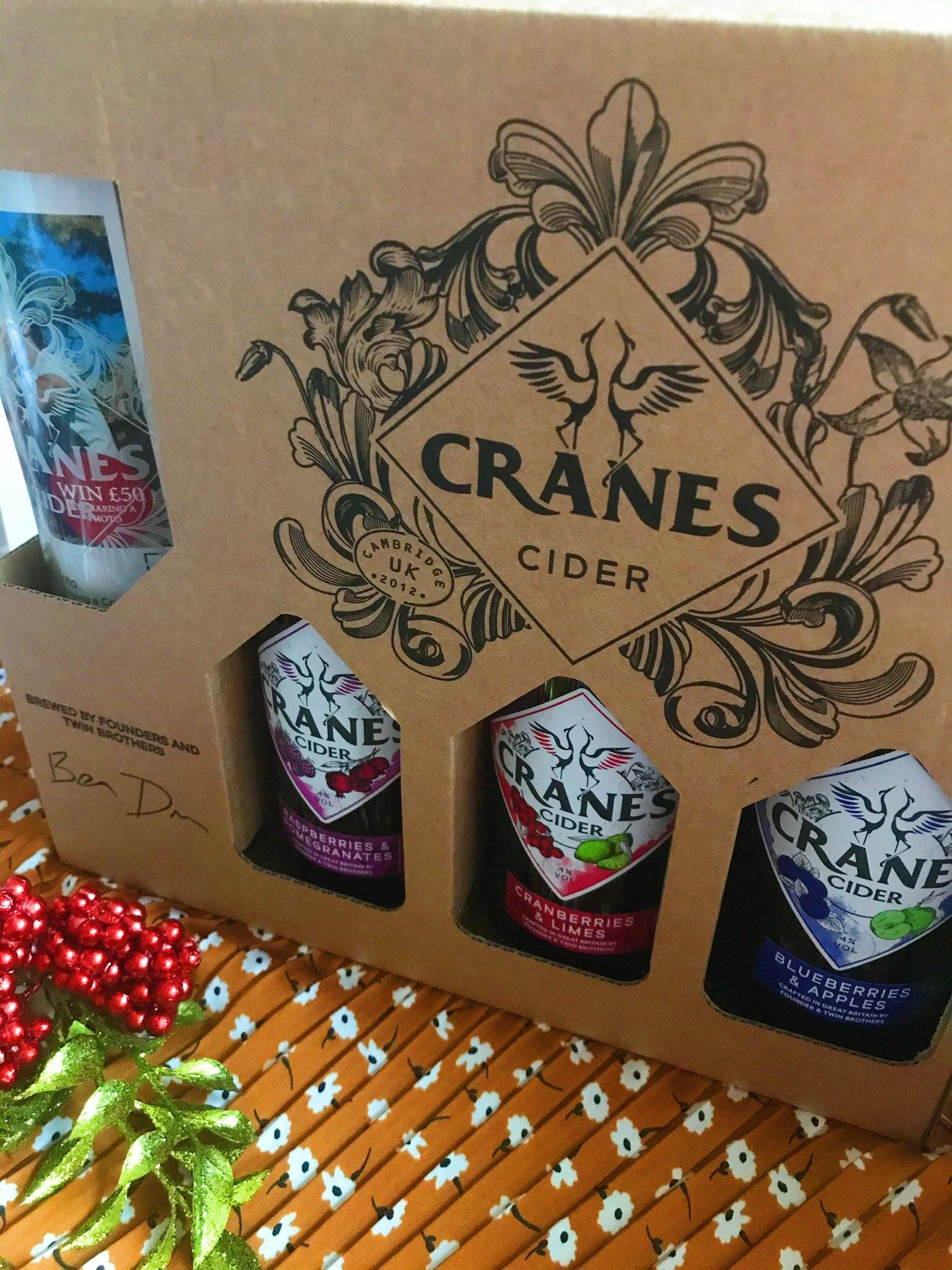 Cranes Cider gift set stood up