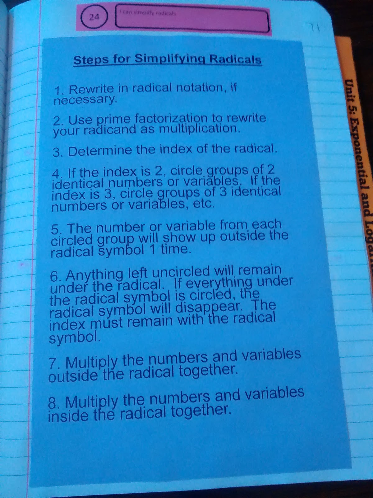 Math Love Radical Expressions And Complex Numbers Interactive Notebook Pages