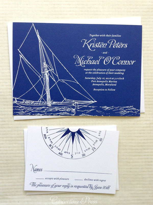 Nautical Sailboat Wedding Invitations for a yacht club wedding by Concertina Press