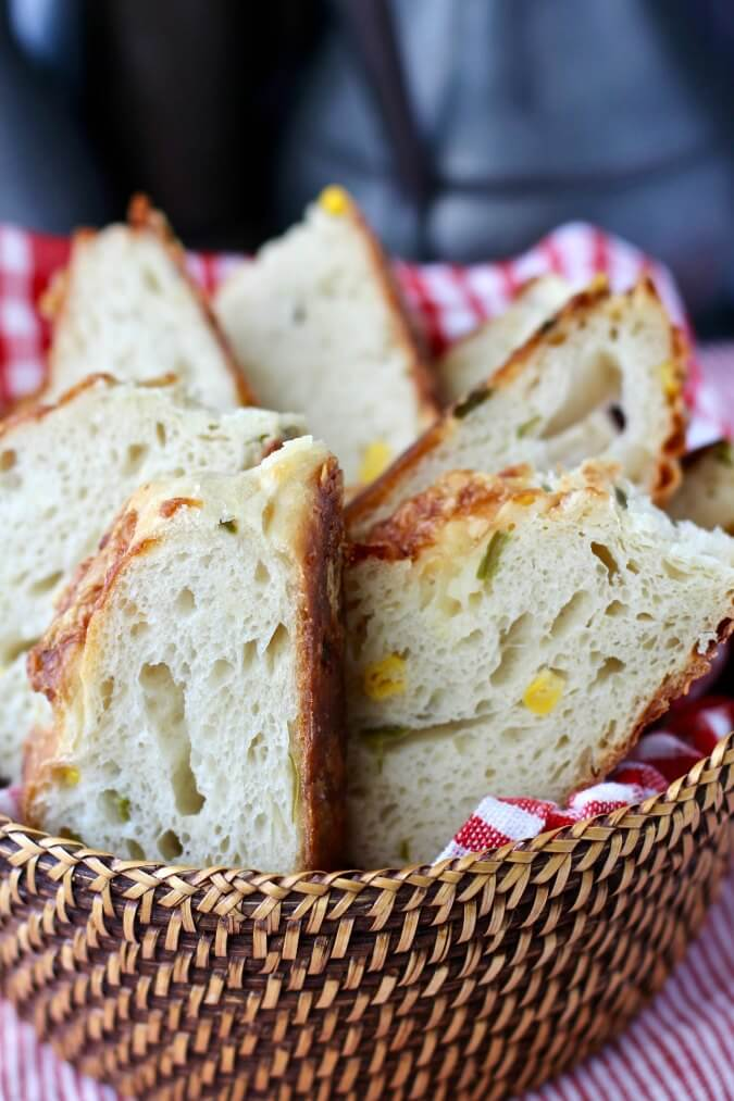 Jalapeño Cheese Bread with Corn in a basket