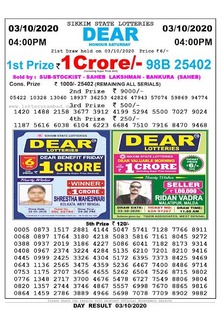 Lottery Sambad Result 03.09.2020 Dear Honour Saturday 4:00 pm