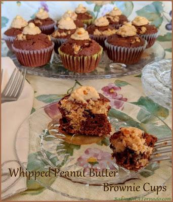 Whipped Peanut Butter Brownie Cups bake a creamy whipped peanut butter center into chocolatey brownie cups. | Recipe developed by www.BakingInATornado.com | #recipe #dessert