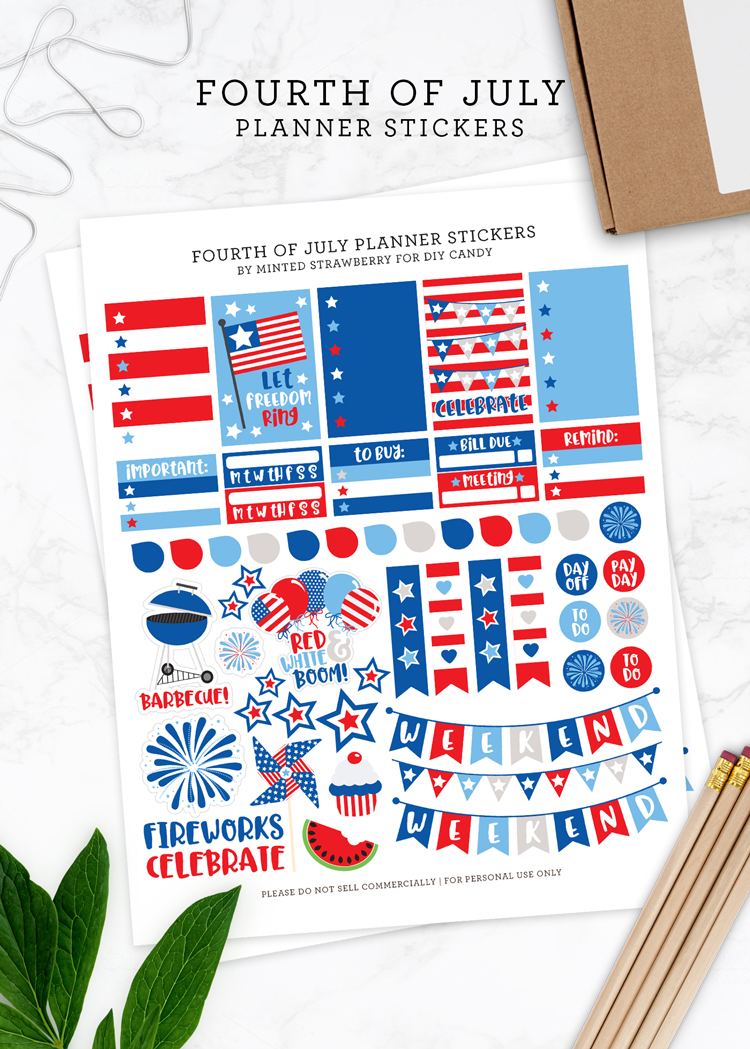 fourth of july printable planner stickers at DIY Candy