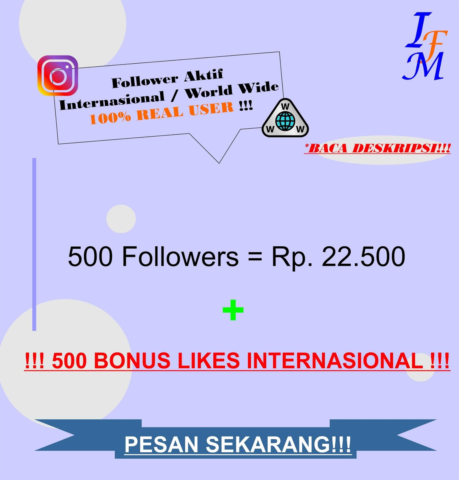 Jasa Tambah 500 Follower Akun Instagram Aktif Mix Worldwide 100% Real User