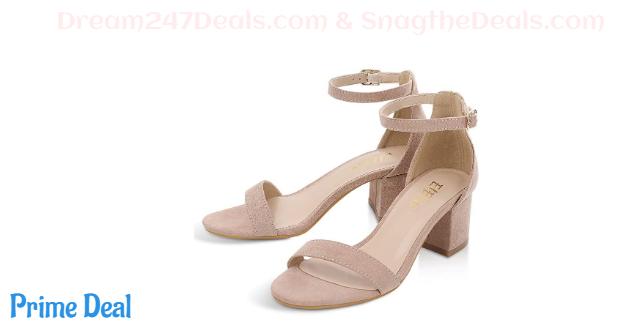 60% OFF ElElax Women's 2 Inch Nude Heels Single Band Classic Chunky Block Low Heel Sandals