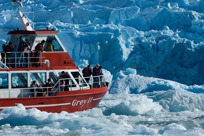 Navigation to Grey Glacier, Chile.