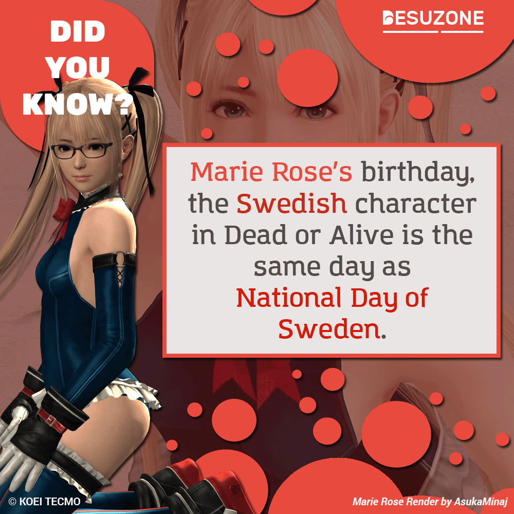 Marie Rose birthday is the same day as National Day of Sweden