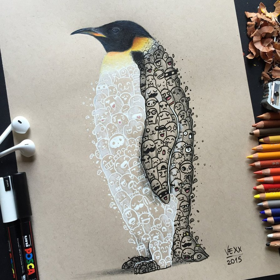 02-Penguin-Doodle-Art-Vince-Okerman-vexx-Doodle-Drawings-that-Brightenup-your-Day-www-designstack-co