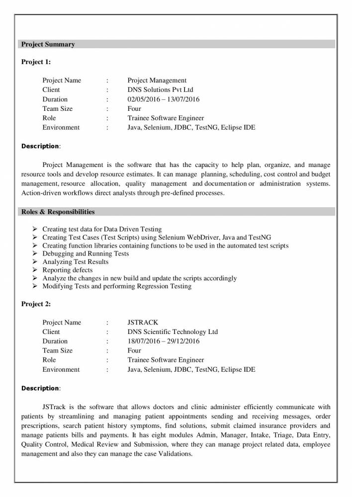 best software testing resume example for freshers experienced