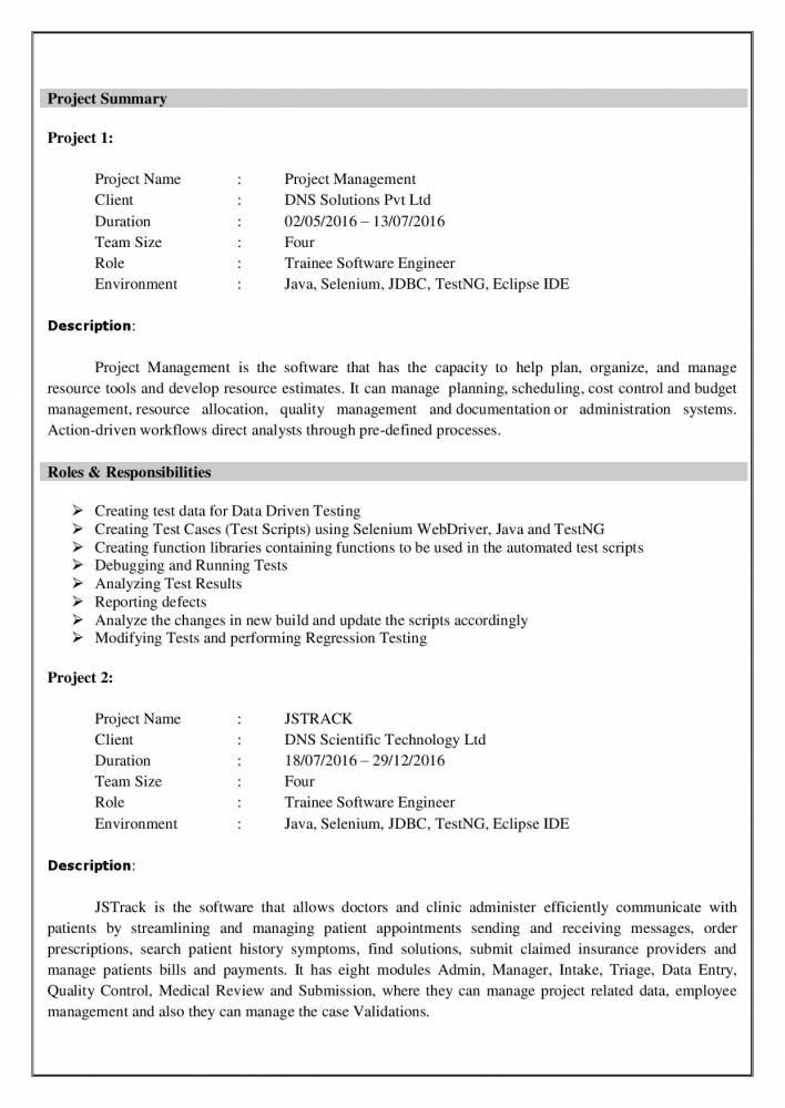 testing resume samples for freshers