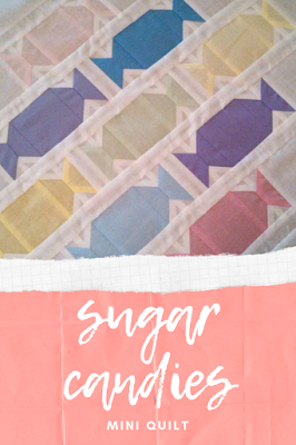 The Sugar Candies mini quilt pattern is a fun quilt to make for a party! It would look great in Halloween prints!