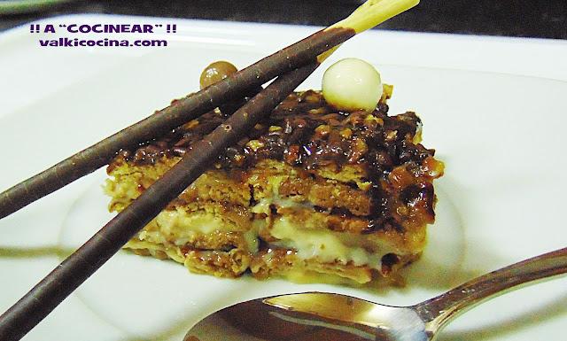 Tarta de galletas con natillas de chocolate y vainilla