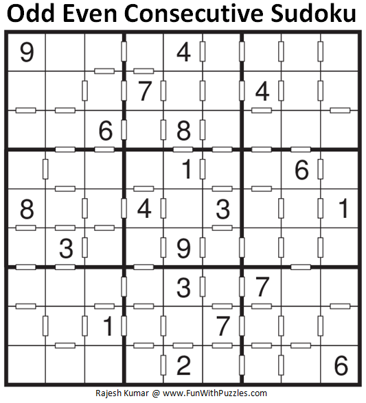Odd Even Consecutive Sudoku Puzzle (Fun With Sudoku #251)