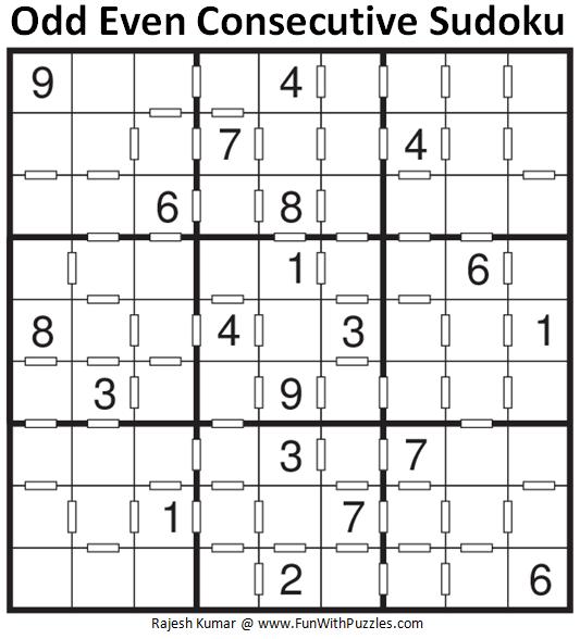 Odd Even Consecutive Sudoku Puzzle (Fun With Sudoku #251)