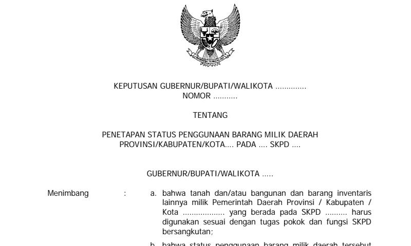 Contoh SK Penetapan Status Penggunaan Barang Milik Daerah dalam Inventaris Barang Sekolah