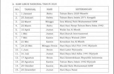 Daftar hari libur nasional tahun 2020