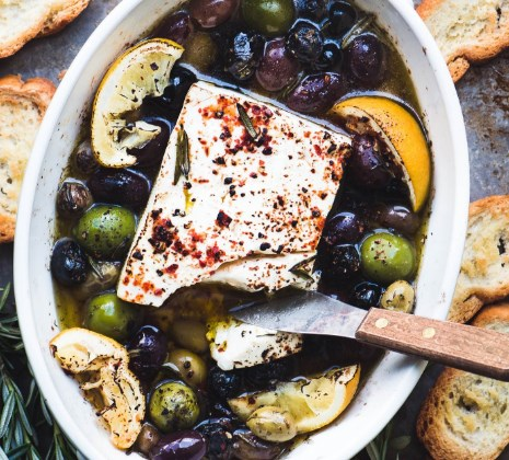 BAKED FETA CHEESE WITH OLIVES AND LEMON #appetizers #lunch