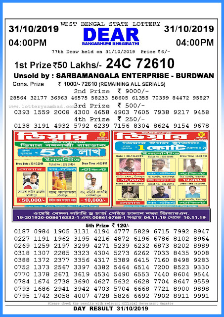 Lottery sambad 31-10-2019 West Bengal State Lottery Result 04.00 PM-sambadlottery.org