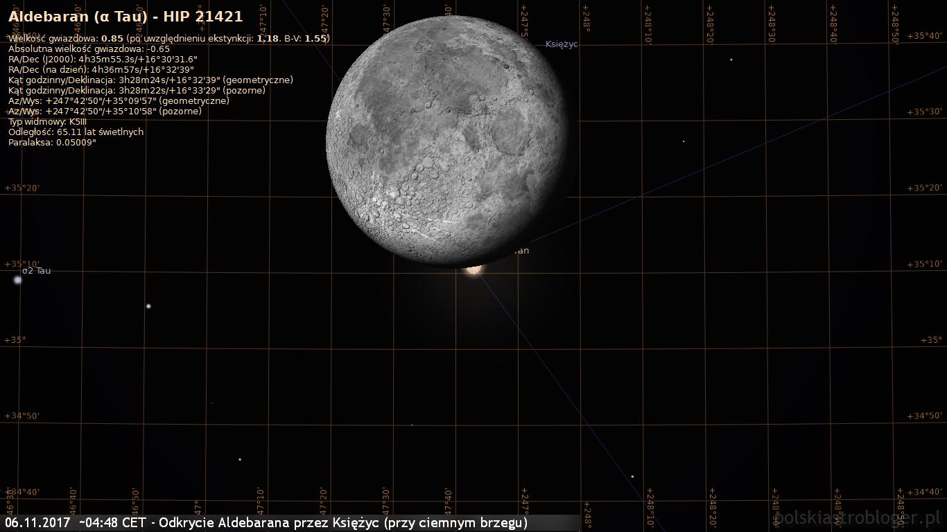 06.11.2017  około 04:48 CET - Odkrycie Aldebarana przez Księżyc - przy ciemnym brzegu