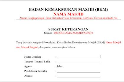 Contoh Surat Keterangan Sebagai Khotib dan Guru Mengaji di Masjid
