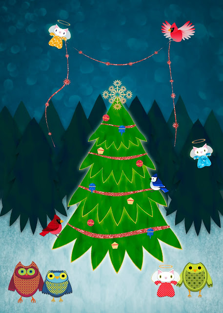 illustration of kitten angels and owls trimming xmas tree in forest by ssstephg