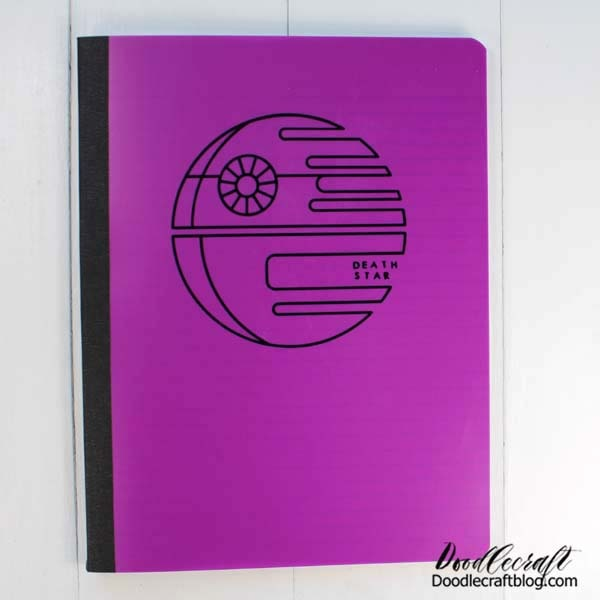 Fuchsia notebook with black vinyl Death Star on the front. Make your own Star Wars notebooks with the Cricut.
