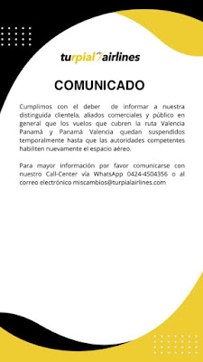 Vuelos aéreos entre Venezuela y Panamá han sido suspendidos a partir del 13 de diciembre 2020