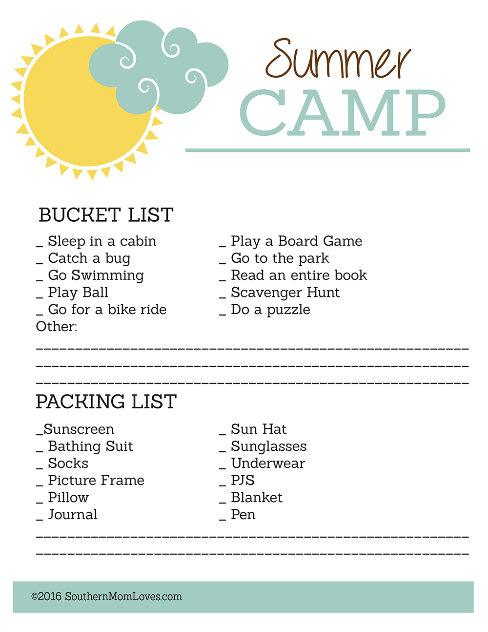 3c33f2a4c266 Southern Mom Loves: FREE Summer Camp Printables for Kids!