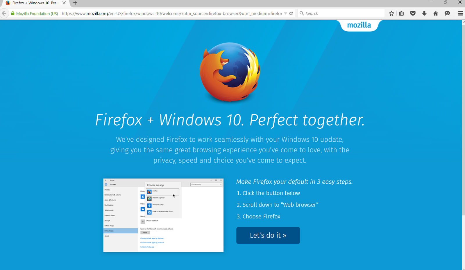 Selenium + Firefox on Windows 10 - get rid of the Windows 10 intro